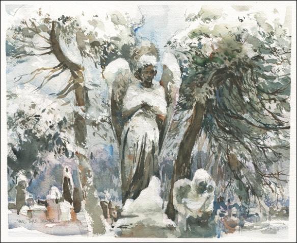 14Feb09_Snow Angels_Sketch Swap_Pines